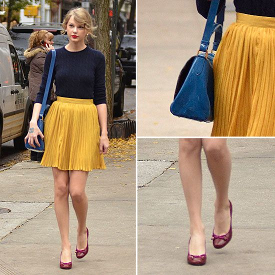TAYLOR SWIFT'S SWEET PLEATS AND BRIGHT COLOR