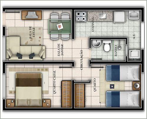 Casa com dois quartos e pequena