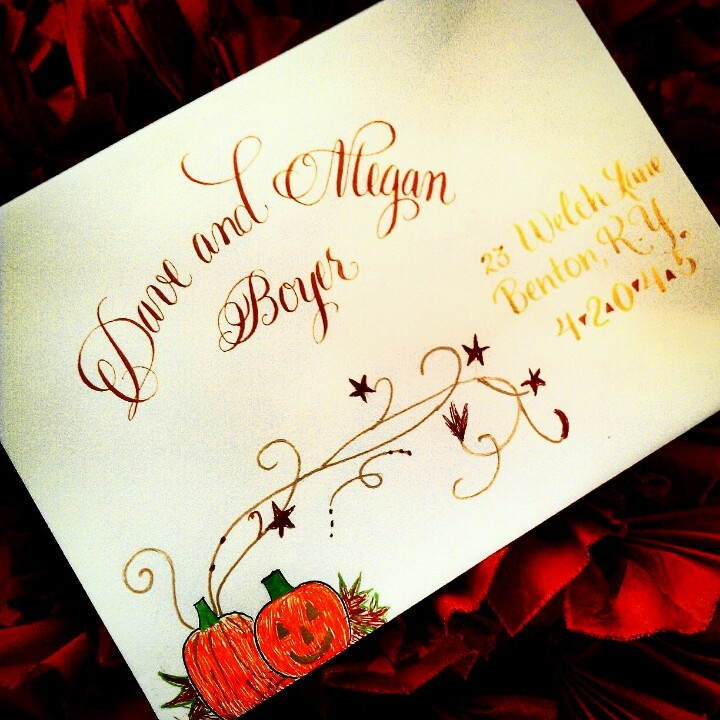 Halloween custom calligraphy envelope