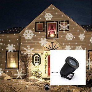 Fanessy Projecteur Exterieur LED Blanc chaud Déplacer les Flocons de Neige Blanche LED Lampe de Projecteur Lumière extérieur intérieur…