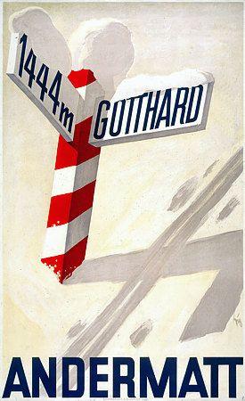 Andermatt Switzerland 1930s Vintage Skiing Posters & Prints