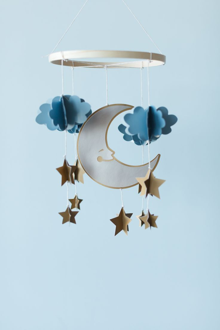 Moon Constellation Mobile made with new Cricut Poster Board. Make It Now with the Cricut Explore machine in Cricut Design Space.