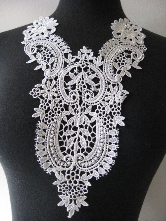 Venise lace applique, lace, appliques, guipure applique, white scroll floral rayon patch, venise trim bridal applique, G30