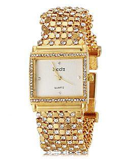 Λεπτό Πλατεία υπόθεση Diamand Gold Steel Band χαλαζία ρολόι βραχιόλι των γυναικών (διάφορα χρώματα)
