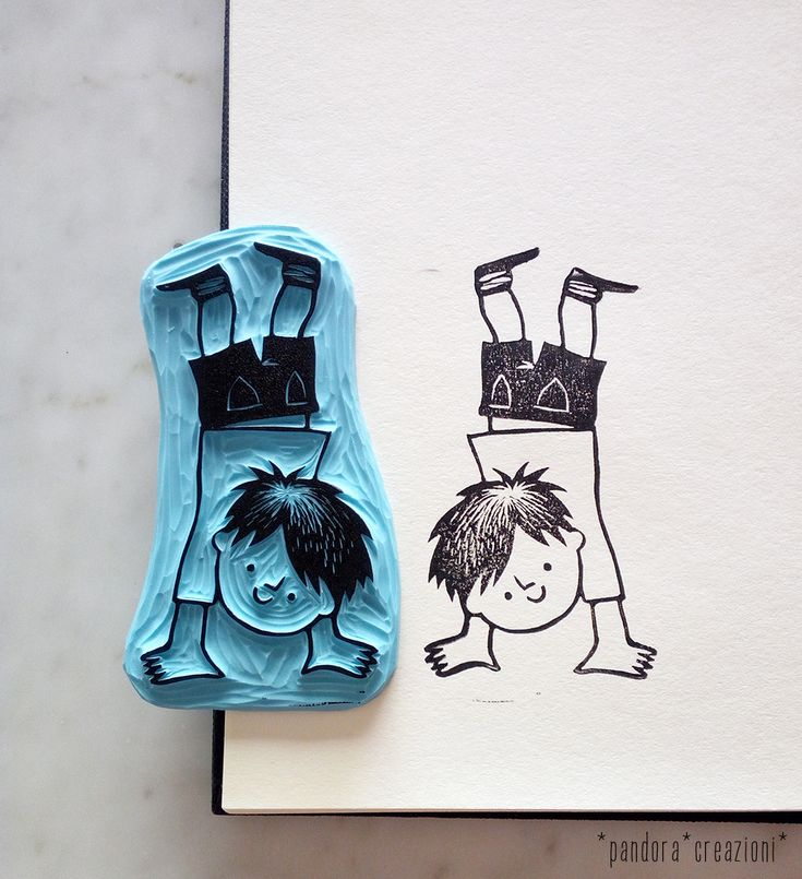 handcarved rubber stamp BOY * pandora creazioni