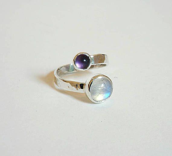 Dual Moonstone-Amethyst sterling silver ring,birthstone, cabochon, δαχτυλίδι φεγγαρόπετρα , αμέθυστο, κοσμώ