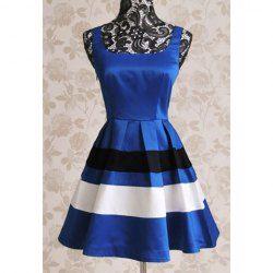 $14.58 Vintage Shoulder-Straps Color Splicing Women's Dress