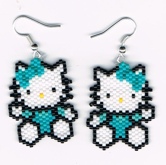 Hand Beaded  Cat with turquoise dangling earrings