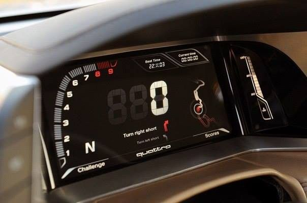 Audi Quattro 2014 Concept. Resembles motorcycle instrument cluster layout