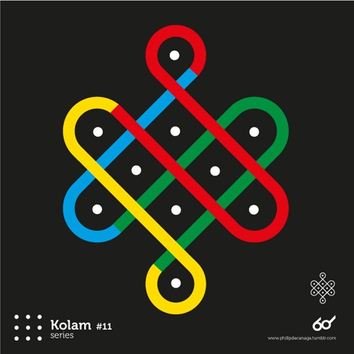 Kolam Series #11  www.philipdecanaga.tumblr.com  A Kolam is a geometrical line drawing composed of curved loops, drawn around a grid pattern of dots in South india.