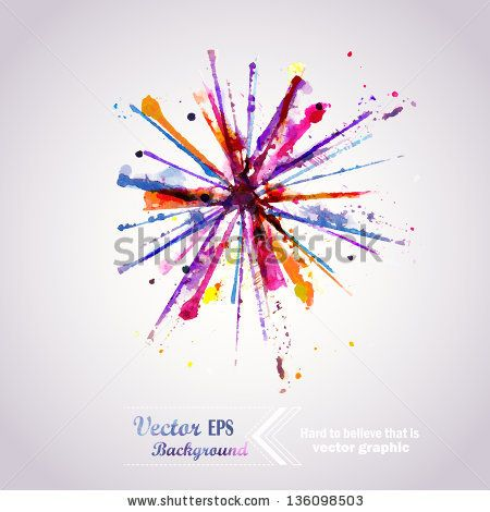 Abstract hand drawn watercolor background firework,vector illustration, stain watercolors colors wet on wet paper. Watercolor composition for scrapbook elements. Celebration card. - stock vector