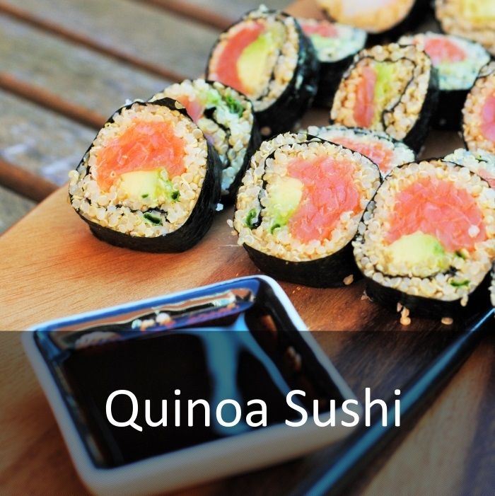 Hungry Healthy Happy - Quinoa Sushi - I LOVE sushi and the city I live in has some amazing Japanese restaurants that my husband and I like to go to. Unfortunately, none of them that I have foun Japanese Japanese, lunch, quinoa sushi