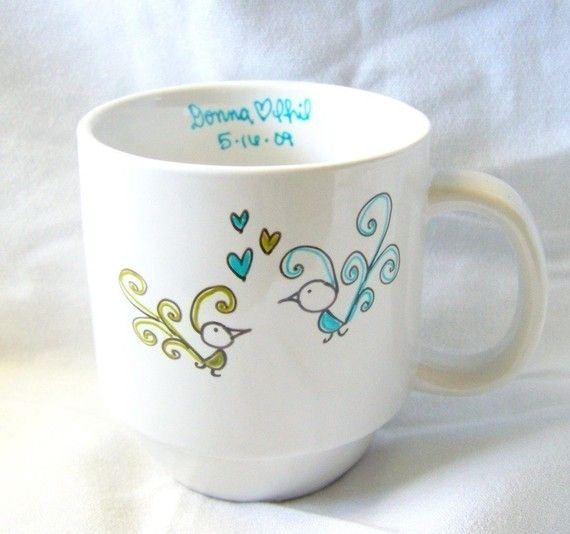 personalized paula and percy peacock ready for a wedding or a baby coffee mug for $16.00 at etsy.com
