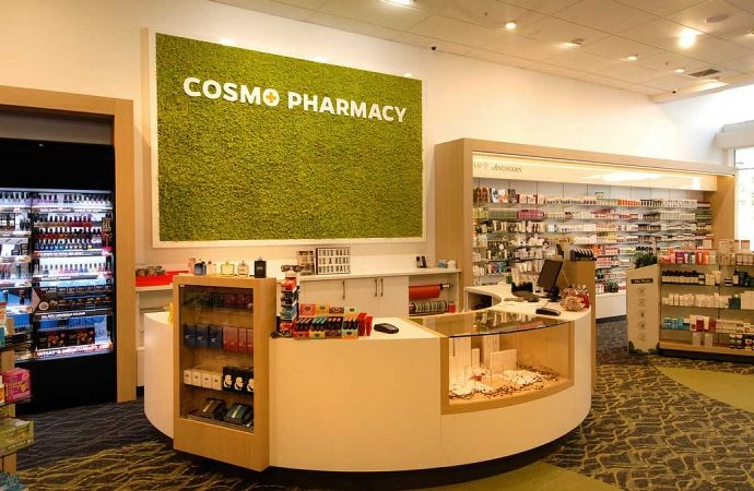 Cosmo Pharmacy Christchurch, featuring Melteca Aged Ash and Warm White