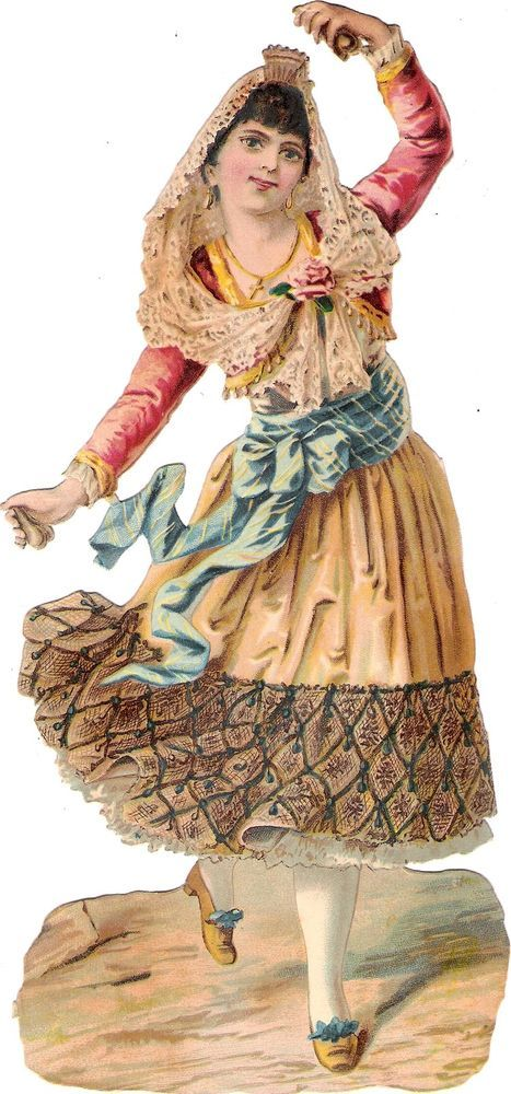 Oblaten Glanzbild scrap die cut  chromo spanish lady  23cm  femme Dame Spanien