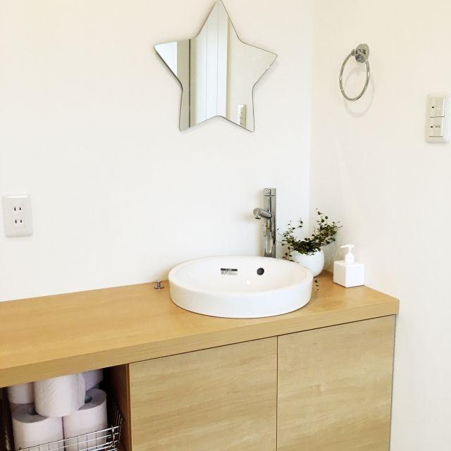 a-yaさんの、棚,無印良品,鏡,洗面台,植物,洗面所,☆,LIXIL,のお部屋写真