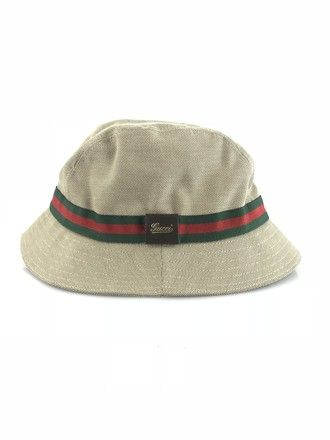 Gucci Bucket Hat Khaki canvas bucket hat with green and red Webbing trim  and a Gucci leather tab on side Designer size S. Interior circ… 37693944eb3