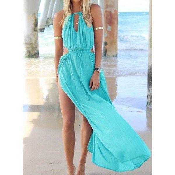 Solid Color Drawstring Sleeveless Round Collar High Slit Side Design Women's Dress