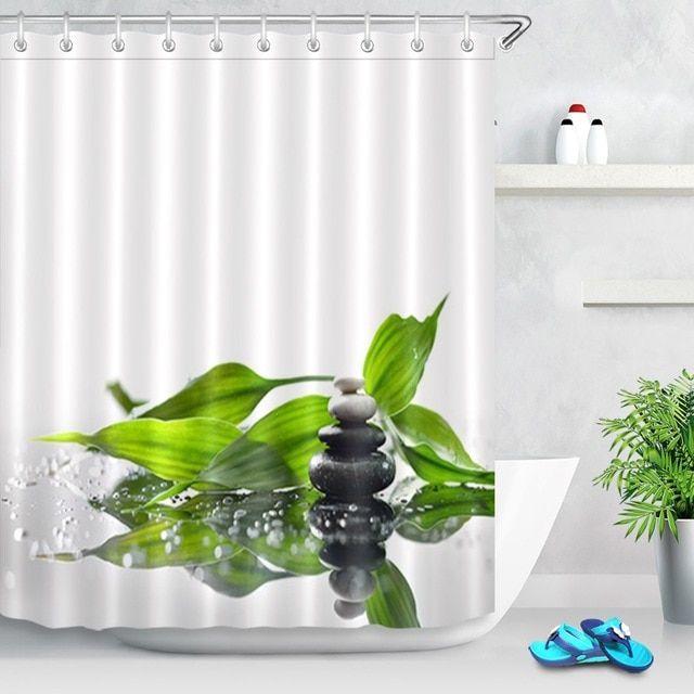 Lb Fresh Design Leaf Shower Curtain Blue Green Leaves Floral