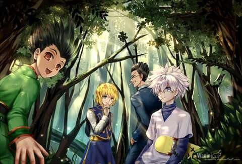 Gon, Killua, Kurapika and Leorio in HunterxHunter