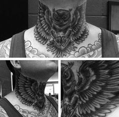 Shaded Black And Grey Ink Traditional Owl Neck Tattoos For Gentlemen Eagle Neck Tattoo, Owl Neck Tattoo, Owl Skull Tattoos, Wing Neck Tattoo, Full Neck Tattoos, Back Of Neck Tattoo, Neck Tattoo For Guys, Chest Tattoo, Tattoos For Guys