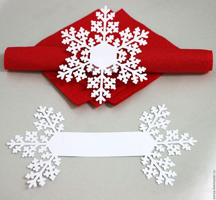 """Купить """"Снежинка"""" держатель для салфеток - комбинированный, Снег, снежинка, кольцо, кольцо для салфетки, держатель"""