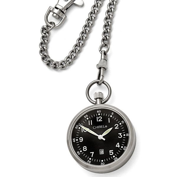 Chisel Stainless Steel Black Dial Pocket Watch ($131) ❤ liked on Polyvore featuring jewelry, watches, stainless steel jewellery, black dial watches, stainless steel wrist watch, chain watches and black face watches