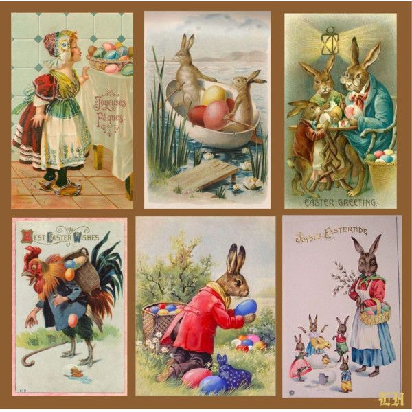 Vintage Easter Postcards! by lheijl on Polyvore featuring art and vintage