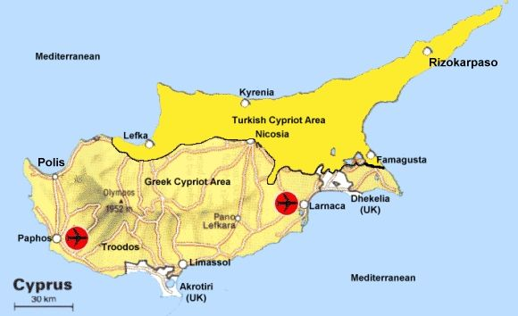 Location of roads, airports, and the British overseas territories of Akrotiri and Dhekelia are the distinguishing features of this map.