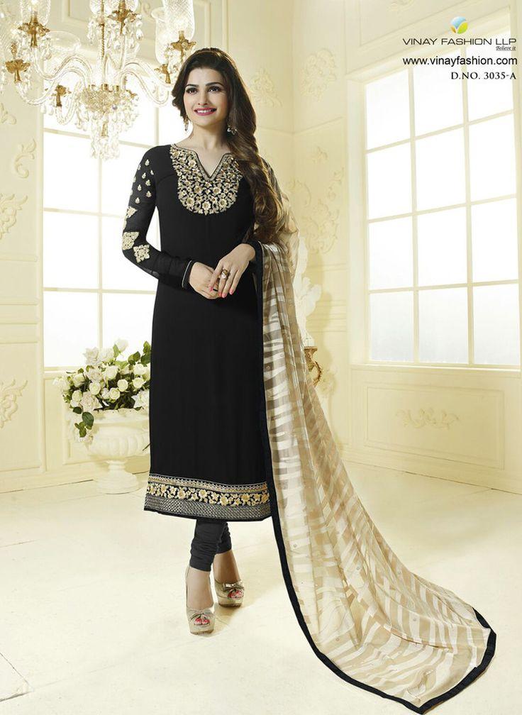 Vinay Fashion 3035A Black Color Georgette Designer Suit