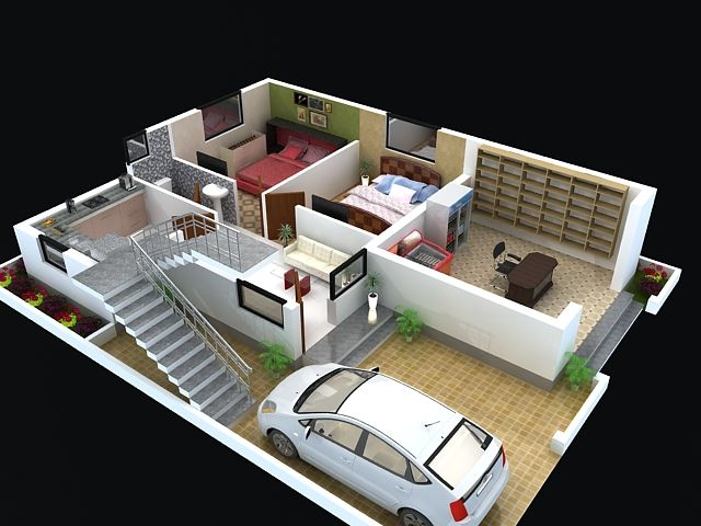 Floor Plan For Modern Duplex 3 Floor House Click On This
