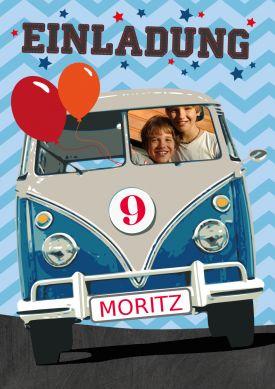 Witzige Einladungskarte für Kinder mit Bulli im Retro-Stil #VW#Bulli#Bus#Partyzone#Geburtstag#Einladung #EinladungGeburtstag.de