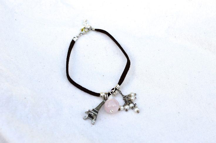 Soft+Suede+Bracelet+With+Rose+Quartz+Eiffel+Tower+by+KEYZandMore,+$16.50