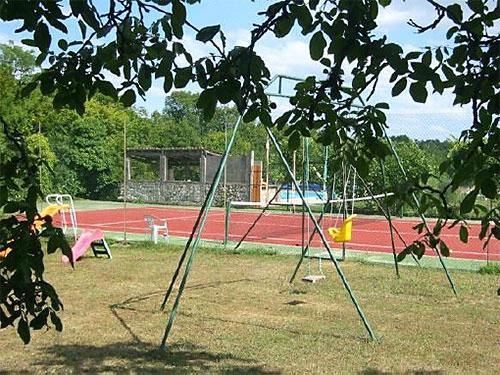 Tennis court and children play area