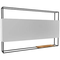 Black Horizontal Frame Minimal Contemporary Mirror with Movable Oak Shelf