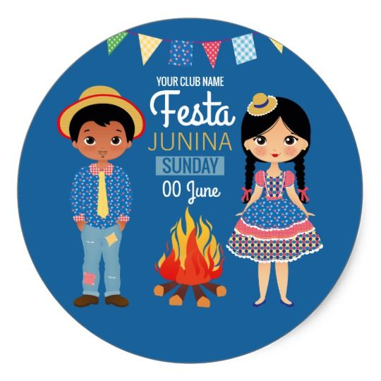 Festa Junina Corporate/Club Party Classic Round Sticker