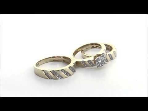 095 ctw halo diamond trio wedding ring set in 14k yellow gold this gorgeous - Trio Wedding Ring Sets