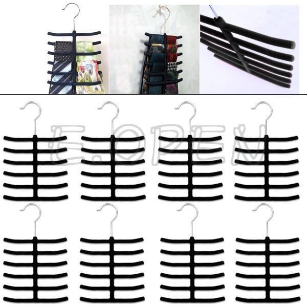 2/4/8/16 pcs Velvet Metal Belt Scarf Necktie Hanger Holder Rack Closet Organizer