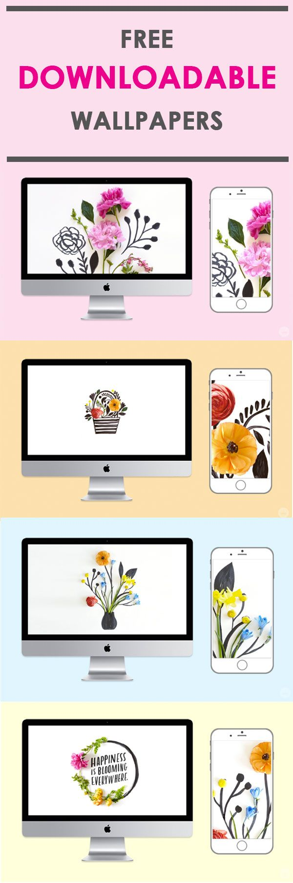 Bring more fresh florals into your life with these beautiful FREE wallpapers from Think.Make.Share! These are perfect for your computer or phone to brighten your day.