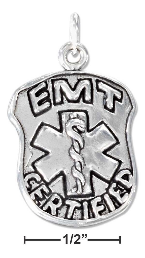 "Sterling Silver Emergency Medical Technician ""emt Certified"" Badge Charm"