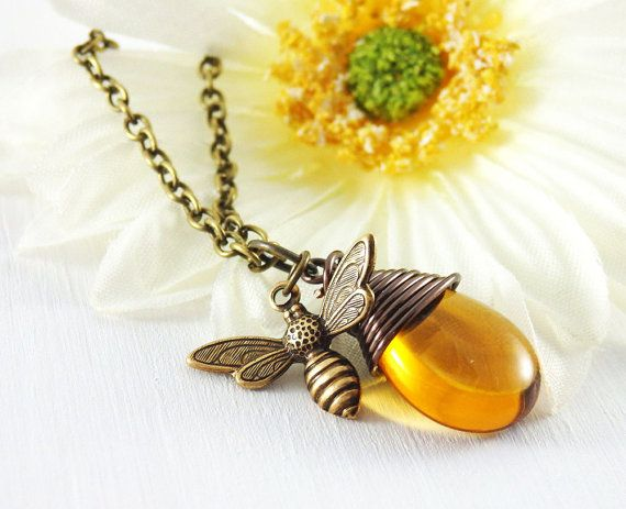 This cute Honey Bee Necklace is handmade by me using a Topaz Czech Glass Briolette (symbolizing a honey drop) that I have wire wrapped in