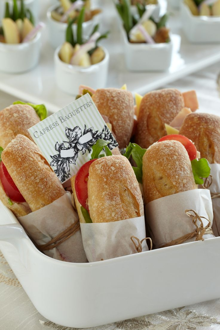 Wrapped Caprese Baguettes. A perfect selection for your vegetarian guests as well as the mom-to-be.