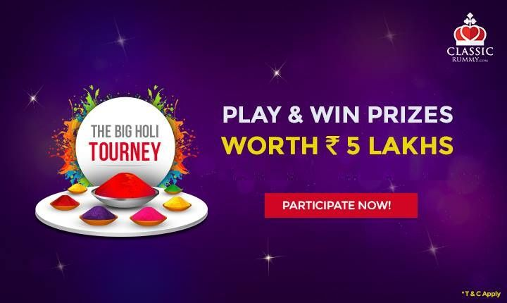 Participate in our Grand Finale Holi Special Tourney today @ 3pm & win prizes worth 5 Lakhs #rummy #classicrummy #holi #colors #Indianrummy #rummytourney #holitourney #specialtourney #onlinerummy #cardgames