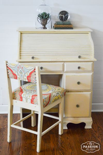painted furniture ideas. Cream Chalk Paint® On Roll Top Dresser And Chair | My Passion For Decor Painted Furniture Ideas I