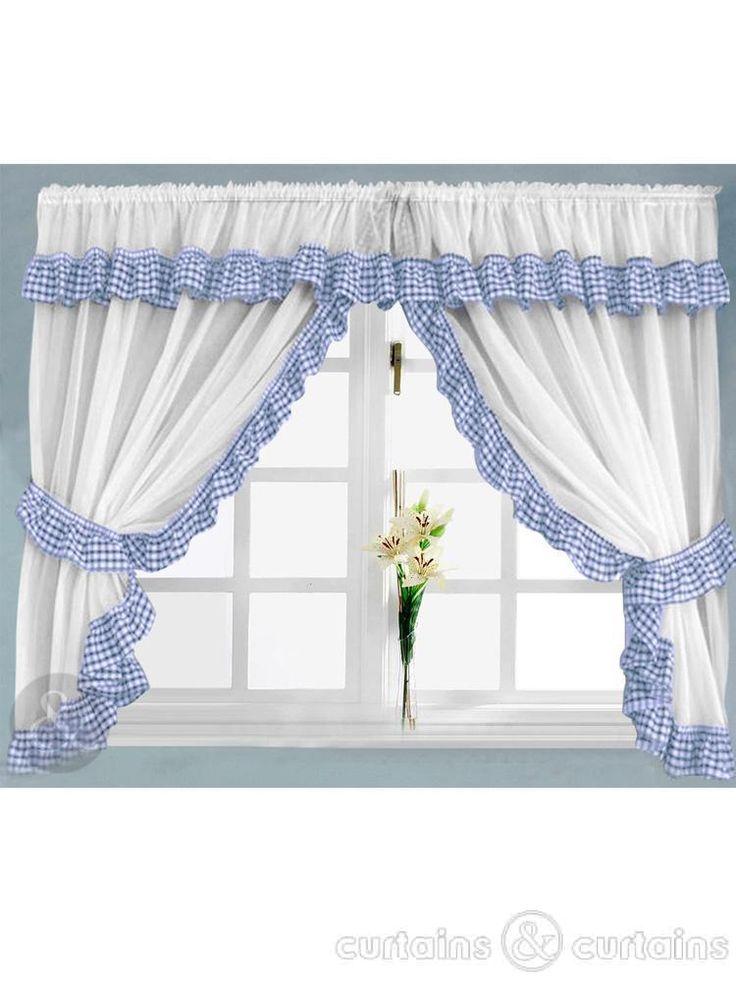 Captivating Gingham Check Blue U0026 White Kitchen Curtain