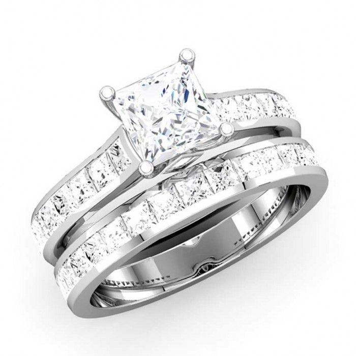 Princess Cut Diamond Wedding Ring Set - http://www.mybridalring.com/Rings/princess-cut-diamond-bridal-engagement-set/