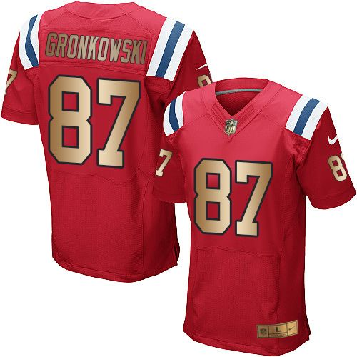 #NikePatriots #87 #Rob #Gronkowski Red Alternate Men's Stitched NFL Elite Gold Jersey #Patriots  #LetsHear #SuperBowl #OneMore #Googlejerseys