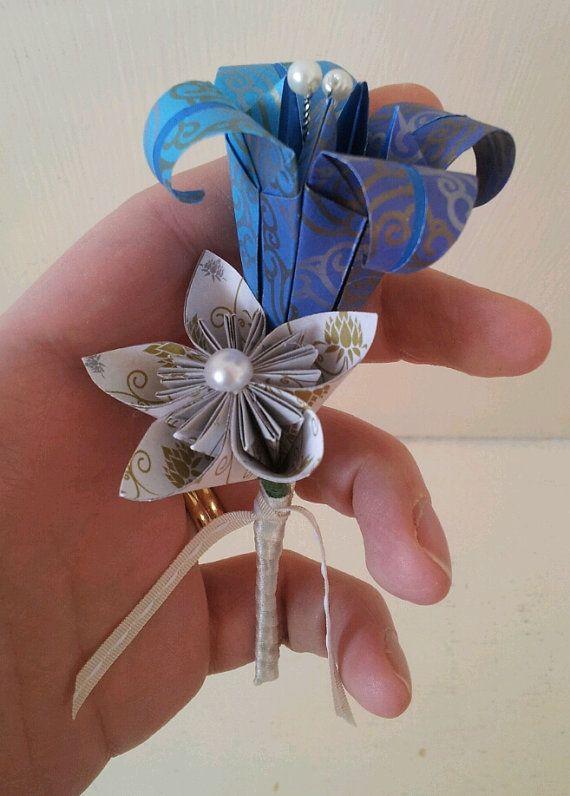 Paper Flower Origami Buttonhole Boutonniere by LilyBelleKeepsakes