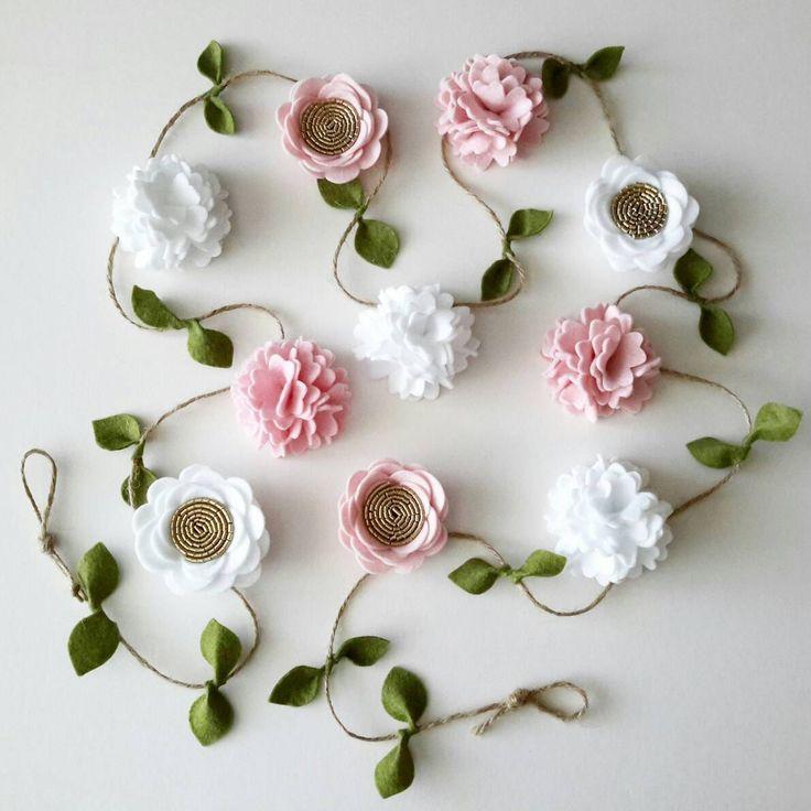 Felt Flower and Rose Garland Floral Garland Home by MagentaGinger