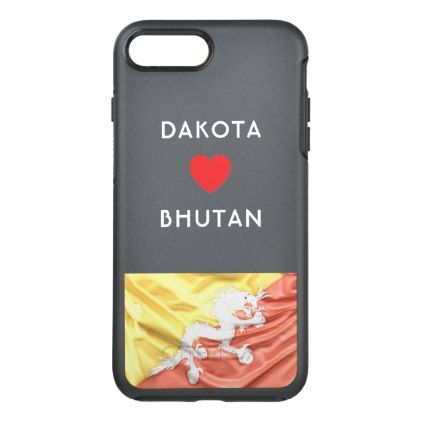 #Custom I Heart Flag of Bhutan OtterBox Symmetry iPhone 7 Plus Case - #travel #trip #journey #tour #voyage #vacationtrip #vaction #traveling #travelling #gifts #giftideas #idea